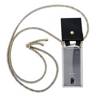 Cadorabo Handy Kette für Samsung Galaxy NOTE 4 in RAINBOW - Silikon Necklace Umhänge Hülle mit Gold Ringen, Kordel Band Schnur und abnehmbarem Etui ? Schutzhülle
