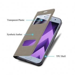Cadorabo Hülle für Samsung Galaxy A3 2017 in STEIN BRAUN - Handyhülle mit Magnetverschluss, Standfunktion und 2 Sichtfenstern - Case Cover Schutzhülle Etui Tasche Book Klapp Style - Vorschau 3