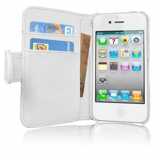 Cadorabo Hülle für Apple iPhone 4 / iPhone 4S in POLAR WEIß - Handyhülle aus glattem Kunstleder mit Standfunktion und Kartenfach - Case Cover Schutzhülle Etui Tasche Book Klapp Style