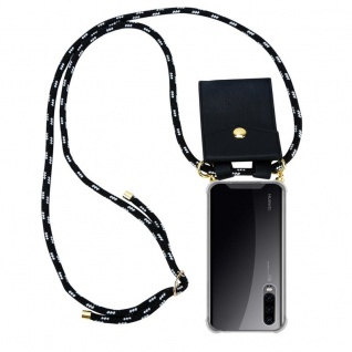Cadorabo Handy Kette für Huawei P30 in SCHWARZ SILBER ? Silikon Necklace Umhänge Hülle mit Gold Ringen, Kordel Band Schnur und abnehmbarem Etui ? Schutzhülle