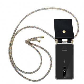 Cadorabo Handy Kette für Nokia 3.1 Plus in RAINBOW - Silikon Necklace Umhänge Hülle mit Gold Ringen, Kordel Band Schnur und abnehmbarem Etui ? Schutzhülle