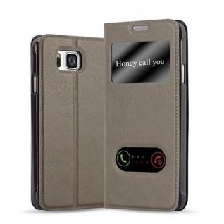 Cadorabo Hülle für Samsung Galaxy ALPHA in STEIN BRAUN - Handyhülle mit Magnetverschluss, Standfunktion und 2 Sichtfenstern - Case Cover Schutzhülle Etui Tasche Book Klapp Style
