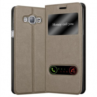 Cadorabo Hülle für Samsung Galaxy A8 2015 in STEIN BRAUN ? Handyhülle mit Magnetverschluss, Standfunktion und 2 Sichtfenstern ? Case Cover Schutzhülle Etui Tasche Book Klapp Style