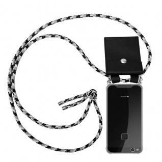 Cadorabo Handy Kette für Huawei P10 in SCHWARZ CAMOUFLAGE - Silikon Necklace Umhänge Hülle mit Silber Ringen, Kordel Band Schnur und abnehmbarem Etui - Schutzhülle
