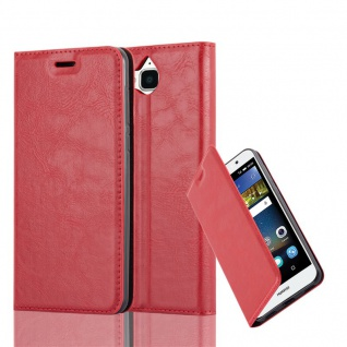Cadorabo Hülle für Huawei Y6 2017 in APFEL ROT Handyhülle mit Magnetverschluss, Standfunktion und Kartenfach Case Cover Schutzhülle Etui Tasche Book Klapp Style