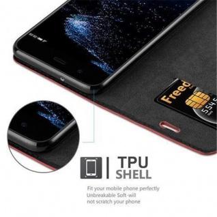 Cadorabo Hülle für Huawei P10 PLUS in APFEL ROT Handyhülle mit Magnetverschluss, Standfunktion und Kartenfach Case Cover Schutzhülle Etui Tasche Book Klapp Style - Vorschau 3