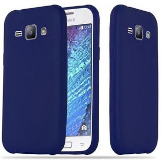 Cadorabo Hülle für Samsung Galaxy J1 2015 in CANDY DUNKEL BLAU Handyhülle aus flexiblem TPU Silikon Silikonhülle Schutzhülle Ultra Slim Soft Back Cover Case Bumper