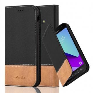 Cadorabo Hülle für Samsung Galaxy XCOVER 4 in SCHWARZ BRAUN ? Handyhülle mit Magnetverschluss, Standfunktion und Kartenfach ? Case Cover Schutzhülle Etui Tasche Book Klapp Style