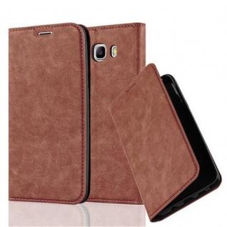 Cadorabo Hülle für Samsung Galaxy J7 2016 in CAPPUCCINO BRAUN - Handyhülle mit Magnetverschluss, Standfunktion und Kartenfach - Case Cover Schutzhülle Etui Tasche Book Klapp Style