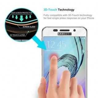 Cadorabo Vollbild Panzer Folie für Samsung Galaxy A7 2016 - Schutzfolie in TRANSPARENT mit WEISS - Gehärtetes (Tempered) Display-Schutzglas in 9H Härte mit 3D Touch Kompatibilität - Vorschau 5