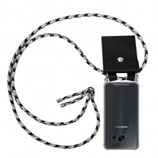Cadorabo Handy Kette für Samsung Galaxy S7 EDGE in SCHWARZ CAMOUFLAGE - Silikon Necklace Umhänge Hülle mit Silber Ringen, Kordel Band Schnur und abnehmbarem Etui - Schutzhülle