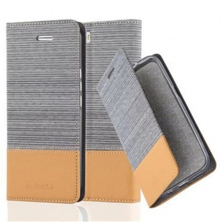 Cadorabo Hülle für Honor 6 in HELL GRAU BRAUN Handyhülle mit Magnetverschluss, Standfunktion und Kartenfach Case Cover Schutzhülle Etui Tasche Book Klapp Style