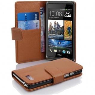 Cadorabo Hülle für HTC DESIRE 600 in COGNAC BRAUN ? Handyhülle aus strukturiertem Kunstleder mit Standfunktion und Kartenfach ? Case Cover Schutzhülle Etui Tasche Book Klapp Style