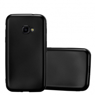 Cadorabo Hülle für Samsung Galaxy Xcover 4 in METALLIC SCHWARZ - Handyhülle aus flexiblem TPU Silikon - Silikonhülle Schutzhülle Ultra Slim Soft Back Cover Case Bumper