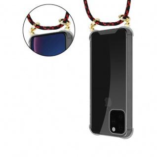 Cadorabo Handy Kette für Apple iPhone 11 PRO MAX (XI PRO MAX) in SCHWARZ ROT - Silikon Necklace Umhänge Hülle mit Gold Ringen, Kordel Band Schnur und abnehmbarem Etui - Schutzhülle - Vorschau 5