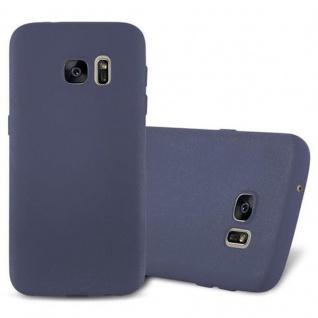 Cadorabo Hülle für Samsung Galaxy S7 in FROST DUNKEL BLAU - Handyhülle aus flexiblem TPU Silikon - Silikonhülle Schutzhülle Ultra Slim Soft Back Cover Case Bumper