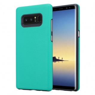 Cadorabo Hülle für Samsung Galaxy NOTE 8 in LILIEN TÜRKIS Outdoor Handyhülle mit extra Grip Anti Rutsch Oberfläche im Triangle Design aus Silikon und Kunststoff Schutzhülle Hybrid Hardcase Back Case