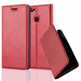 Cadorabo Hülle für Huawei NOVA 2 in APFEL ROT - Handyhülle mit Magnetverschluss, Standfunktion und Kartenfach - Case Cover Schutzhülle Etui Tasche Book Klapp Style