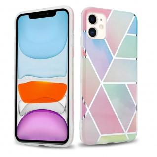 Cadorabo Hülle für Apple iPhone 11 (XI) Hülle in Regenbogen Marmor No.11 Handyhülle aus TPU Silikon mit Muster Mosaik Silikonhülle Schutzhülle Ultra Slim Back Cover Case Bumper