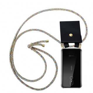 Cadorabo Handy Kette für Nokia 3.2 in RAINBOW Silikon Necklace Umhänge Hülle mit Gold Ringen, Kordel Band Schnur und abnehmbarem Etui Schutzhülle