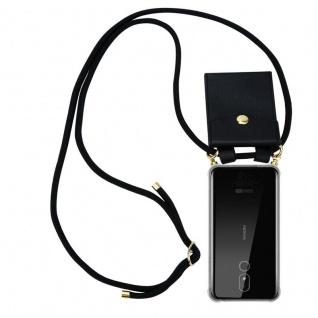Cadorabo Handy Kette für Nokia 3.2 in SCHWARZ - Silikon Necklace Umhänge Hülle mit Gold Ringen, Kordel Band Schnur und abnehmbarem Etui ? Schutzhülle