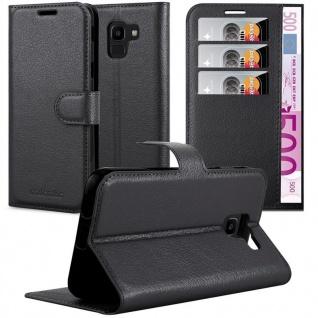 Cadorabo Hülle für Samsung Galaxy J6 2018 in PHANTOM SCHWARZ - Handyhülle mit Magnetverschluss, Standfunktion und Kartenfach - Case Cover Schutzhülle Etui Tasche Book Klapp Style