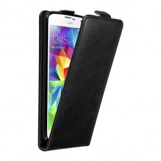 Cadorabo Hülle für Samsung Galaxy S5 MINI / S5 MINI DUOS in NACHT SCHWARZ - Handyhülle im Flip Design mit unsichtbarem Magnetverschluss - Case Cover Schutzhülle Etui Tasche Book Klapp Style