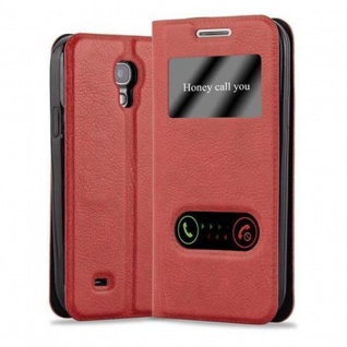 Cadorabo Hülle für Samsung Galaxy S4 MINI in SAFRAN ROT - Handyhülle mit Magnetverschluss, Standfunktion und 2 Sichtfenstern - Case Cover Schutzhülle Etui Tasche Book Klapp Style