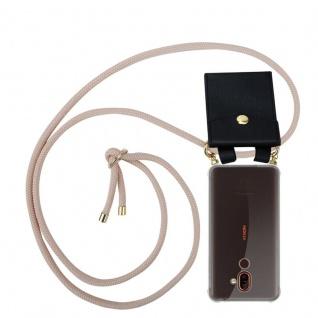 Cadorabo Handy Kette für Nokia 7 PLUS in PERLIG ROSÉGOLD Silikon Necklace Umhänge Hülle mit Gold Ringen, Kordel Band Schnur und abnehmbarem Etui Schutzhülle