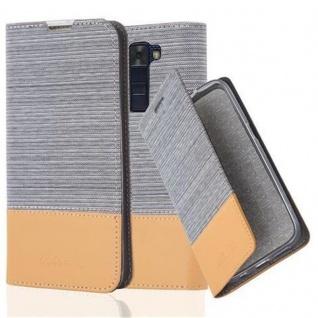 Cadorabo Hülle für LG K8 2016 in HELL GRAU BRAUN - Handyhülle mit Magnetverschluss, Standfunktion und Kartenfach - Case Cover Schutzhülle Etui Tasche Book Klapp Style