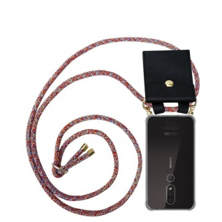 Cadorabo Handy Kette für Nokia 4.2 in COLORFUL PARROT Silikon Necklace Umhänge Hülle mit Gold Ringen, Kordel Band Schnur und abnehmbarem Etui Schutzhülle