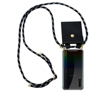 Cadorabo Handy Kette für Samsung Galaxy A90 5G in SCHWARZ SILBER Silikon Necklace Umhänge Hülle mit Gold Ringen, Kordel Band Schnur und abnehmbarem Etui Schutzhülle