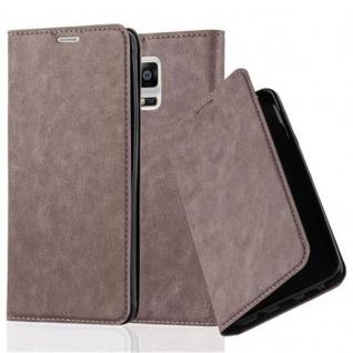 Cadorabo Hülle für Samsung Galaxy NOTE 4 in KAFFEE BRAUN Handyhülle mit Magnetverschluss, Standfunktion und Kartenfach Case Cover Schutzhülle Etui Tasche Book Klapp Style
