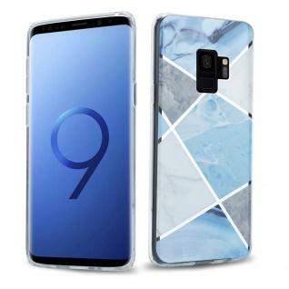 Cadorabo Hülle für Samsung Galaxy S9 PLUS Hülle in Blau weiß grau Marmor No.2 Handyhülle aus TPU Silikon mit Muster Mosaik Silikonhülle Schutzhülle Ultra Slim Back Cover Case Bumper