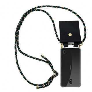 Cadorabo Handy Kette für Nokia 1 PLUS in CAMOUFLAGE - Silikon Necklace Umhänge Hülle mit Gold Ringen, Kordel Band Schnur und abnehmbarem Etui ? Schutzhülle