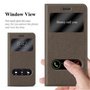 Cadorabo Hülle für Huawei P8 LITE 2017 in STEIN BRAUN - Handyhülle mit Magnetverschluss, Standfunktion und 2 Sichtfenstern - Case Cover Schutzhülle Etui Tasche Book Klapp Style - Vorschau 2