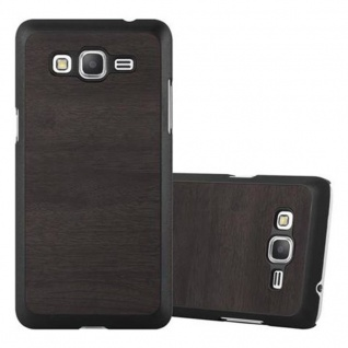 Cadorabo Hülle für Samsung Galaxy GRAND PRIME in WOODY SCHWARZ - Hardcase Handyhülle aus Plastik gegen Kratzer und Stöße - Schutzhülle Bumper Ultra Slim Back Case Hard Cover
