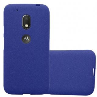 Cadorabo Hülle für Motorola MOTO G4 PLAY in FROST DUNKEL BLAU - Handyhülle aus flexiblem TPU Silikon - Silikonhülle Schutzhülle Ultra Slim Soft Back Cover Case Bumper