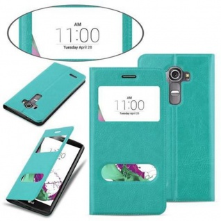 Cadorabo Hülle für LG G4 / G4 PLUS in MINT TÜRKIS ? Handyhülle mit Magnetverschluss, Standfunktion und 2 Sichtfenstern ? Case Cover Schutzhülle Etui Tasche Book Klapp Style - Vorschau 3