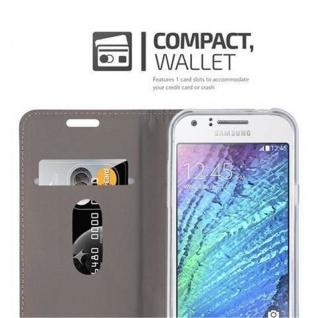 Cadorabo Hülle für Samsung Galaxy J1 2015 in DUNKEL BLAU SCHWARZ - Handyhülle mit Magnetverschluss, Standfunktion und Kartenfach - Case Cover Schutzhülle Etui Tasche Book Klapp Style - Vorschau 3