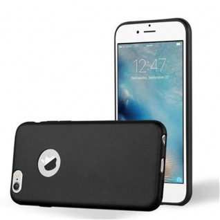 Cadorabo Hülle für Apple iPhone 6 PLUS / iPhone 6S PLUS - Hülle in METALLIC SCHWARZ ? Handyhülle aus TPU Silikon im Matt Metallic Design - Ultra Slim Soft Backcover Case Bumper