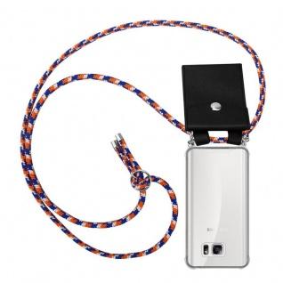Cadorabo Handy Kette für Samsung Galaxy NOTE 5 in ORANGE BLAU WEISS - Silikon Necklace Umhänge Hülle mit Silber Ringen, Kordel Band Schnur und abnehmbarem Etui - Schutzhülle