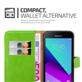 Cadorabo Hülle für Samsung Galaxy Xcover 4 in GRAS GRÜN ? Handyhülle mit Magnetverschluss, Standfunktion und Kartenfach ? Case Cover Schutzhülle Etui Tasche Book Klapp Style - Vorschau 4