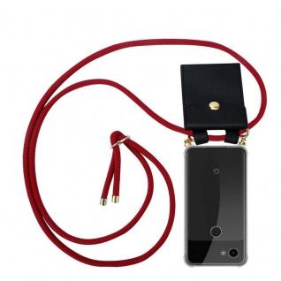 Cadorabo Handy Kette für Google Pixel 3a in RUBIN ROT Silikon Necklace Umhänge Hülle mit Gold Ringen, Kordel Band Schnur und abnehmbarem Etui Schutzhülle