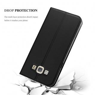 Cadorabo Hülle für Samsung Galaxy A8 2015 in CLASSY SCHWARZ - Handyhülle mit Magnetverschluss, Standfunktion und Kartenfach - Case Cover Schutzhülle Etui Tasche Book Klapp Style - Vorschau 5