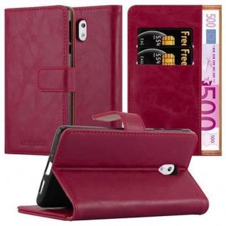 Cadorabo Hülle für Nokia 3 2017 in WEIN ROT Handyhülle mit Magnetverschluss, Standfunktion und Kartenfach Case Cover Schutzhülle Etui Tasche Book Klapp Style