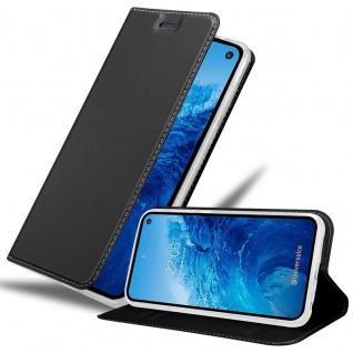 Cadorabo Hülle für Samsung Galaxy S10e in CLASSY SCHWARZ - Handyhülle mit Magnetverschluss, Standfunktion und Kartenfach - Case Cover Schutzhülle Etui Tasche Book Klapp Style