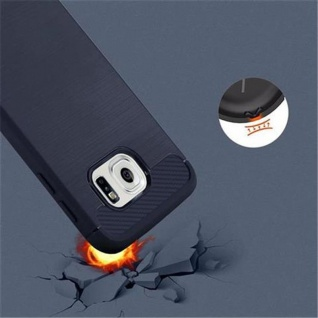 Cadorabo Hülle für Samsung Galaxy S6 - Hülle in BRUSHED BLAU - Handyhülle aus TPU Silikon in Edelstahl-Karbonfaser Optik - Silikonhülle Schutzhülle Ultra Slim Soft Back Cover Case Bumper - Vorschau 5