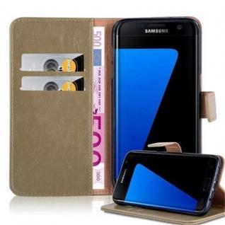 Cadorabo Hülle für Samsung Galaxy S7 EDGE in CAPPUCCINO BRAUN ? Handyhülle mit Magnetverschluss, Standfunktion und Kartenfach ? Case Cover Schutzhülle Etui Tasche Book Klapp Style