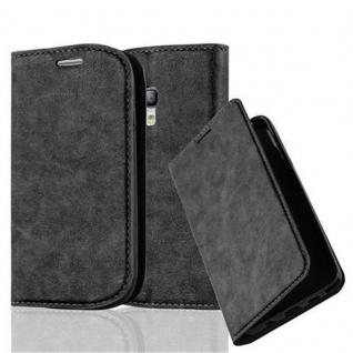 Cadorabo Hülle für Samsung Galaxy S3 MINI in NACHT SCHWARZ - Handyhülle mit Magnetverschluss, Standfunktion und Kartenfach - Case Cover Schutzhülle Etui Tasche Book Klapp Style